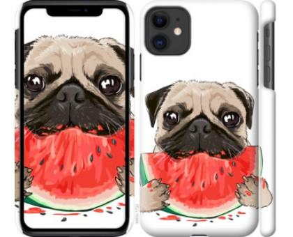 Чехол Мопс и арбуз для iPhone 11