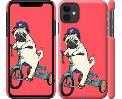 Чехол Мопс на велосипеде для iPhone 11