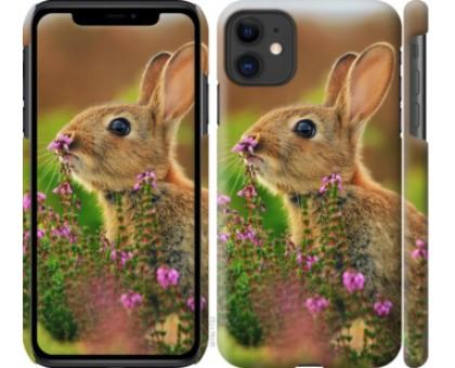 Чехол Кролик и цветы для iPhone 11