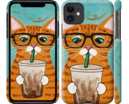 Чехол Зеленоглазый кот в очках для iPhone 11