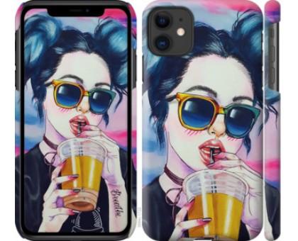 Чехол Арт-девушка в очках для iPhone 11