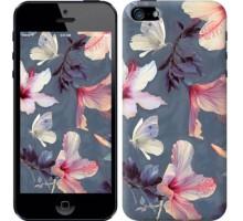 Чехол Нарисованные цветы для iPhone 5/5S/SE