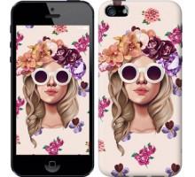 Чехол Девушка с цветами v2 для iPhone 5/5S/SE