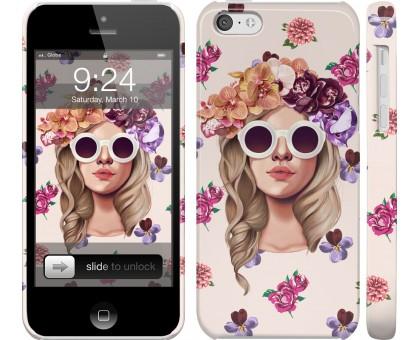 Чехол Девушка с цветами v2 для iPhone 5c