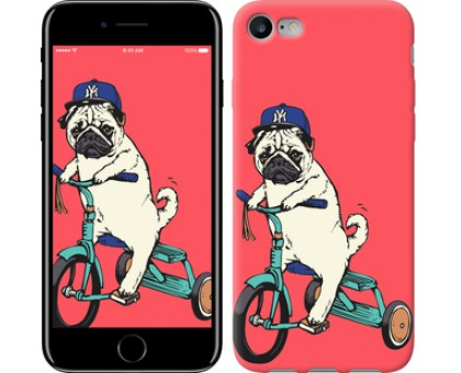 Чехол Мопс на велосипеде для iPhone 8 (4.7)