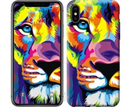 Чехол Разноцветный лев для iPhone X (5.8)