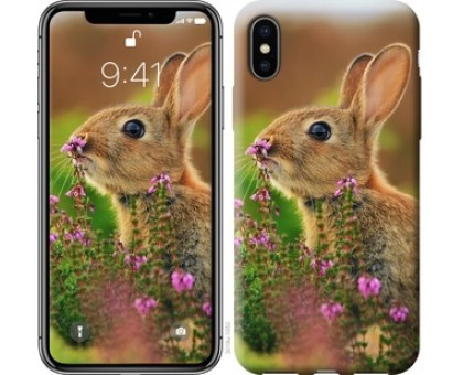 Чехол Кролик и цветы для iPhone X (5.8)
