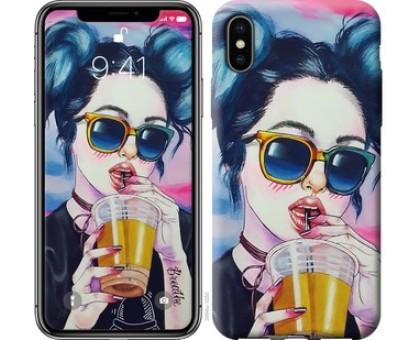 Чехол Арт-девушка в очках для iPhone X (5.8)