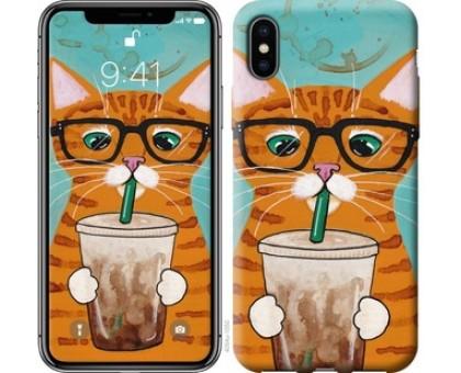 Чехол Зеленоглазый кот в очках для iPhone X (5.8)