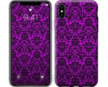Чехол фиолетовый узор барокко для iPhone X (5.8)