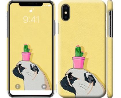 Чехол Мопс с кактусом для iPhone X (5.8)