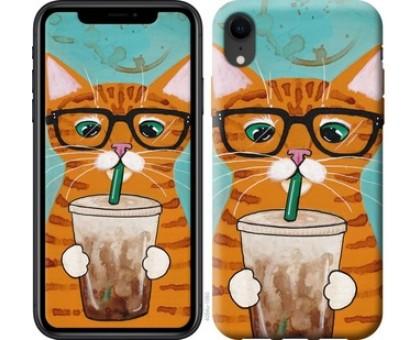 Чехол Зеленоглазый кот в очках для iPhone XR