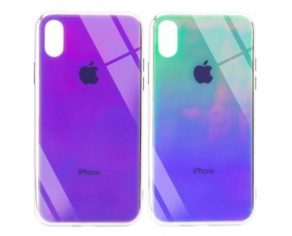 TPU+Glass чехол Gradient Rainbow с лого для Apple iPhone X / XS (5.8)