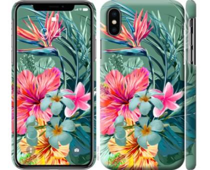 Чехол Тропические цветы v1 для iPhone XS (5.8)