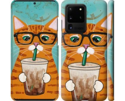 Чехол Зеленоглазый кот в очках для Samsung Galaxy S20 Ultra